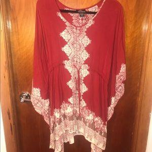 Red & Cream Colored Tunic Dress Shirt